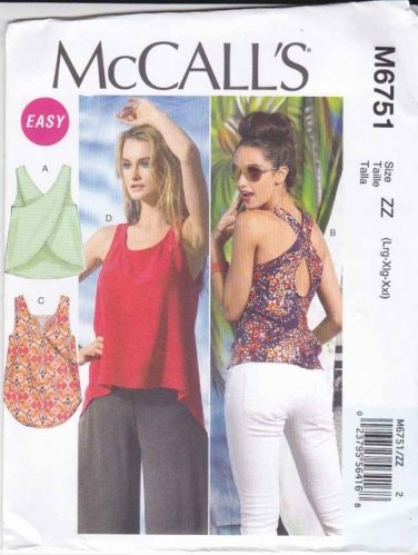 McCalls Sewing Pattern 6751 Misses Sizes 16-26 Easy Pullover Sleeveless Summer Tops  $13.99