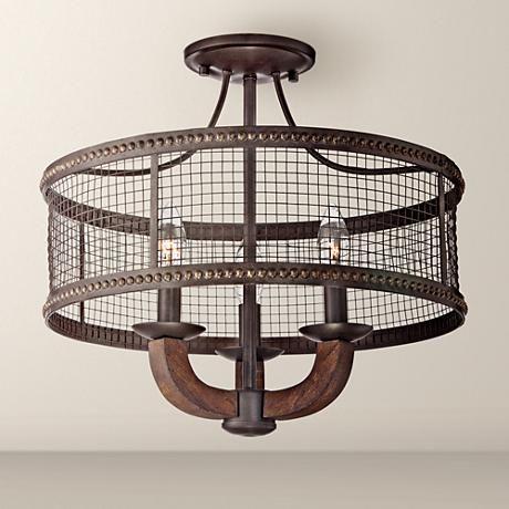 "Frankton Industrial 16"" Wide Bronze Ceiling Light $150"