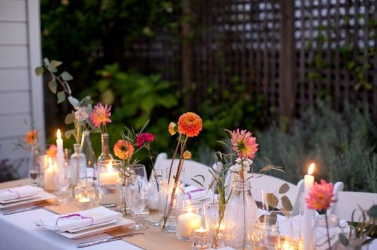 How To Make a Simple, Colorful Tablescape (1) Dahlia timeColors Flower, A Practice Wedding, Tables Sets, Tables Scapes, Modern Wedding, Budget Wedding, Simple Centerpieces, Colors Tablescapes, A Practical Wedding