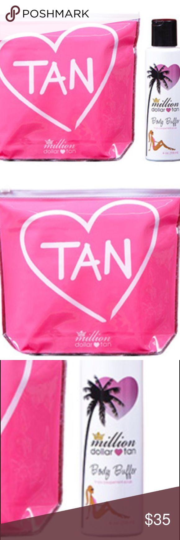 Million dollar tan beauty bundle pink pouch and a full-size Body Buffer Tingly Peppermint Body Scrub (4 oz.) million dollar tan Makeup