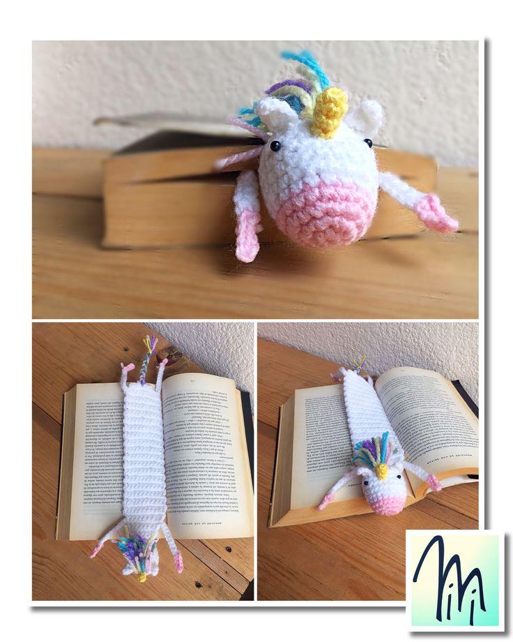 Separador de libros unicornio crochet