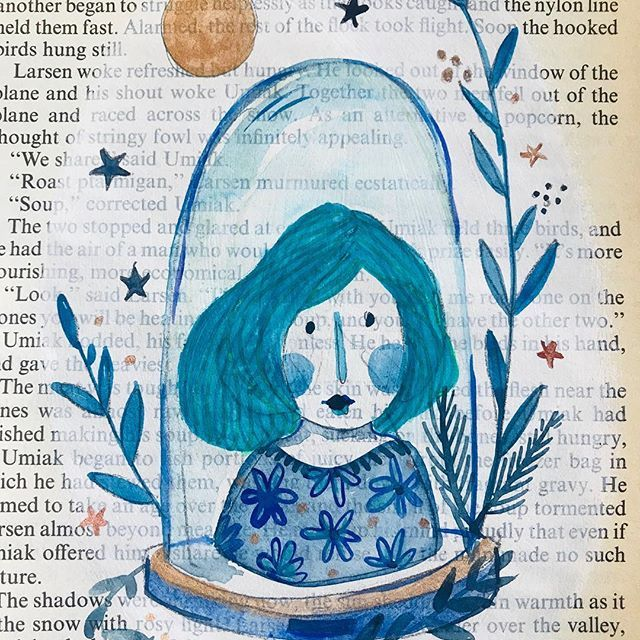 Project protect display. Indigo lady. Blue hues. Love my collection of inks and gouache and adore the shades of blue that can be mixed out of them! Fun time working with little ladies on vintage book pages ✨all originals for sale DM for any info✨ #bluehair #indigo #belljar #artonpaper #artforwalls #instagallery #instaart #creativelife #creativedesk #irishart #irishillustration #huesofblues #portrait #vintagebookpages #artonvintagepaper