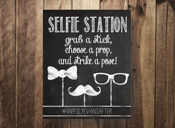 hashtag selfie station selfie stick grab a prop strike a pose diy photo booth rustic party. Black Bedroom Furniture Sets. Home Design Ideas