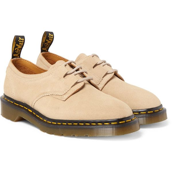 Engineered Garments + Dr Martens Ghillie AirWair Leather Derby Shoes ($195) ❤ liked on Polyvore featuring men's fashion, men's shoes, mens leather shoes, mens derby shoes and mens leather derby shoes