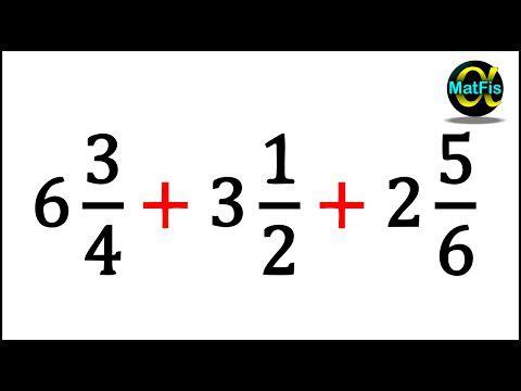 Suma de 3 fracciones mixtas - YouTube