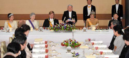 Discurso del Emperador Akihito del Japón, en honor de los Reyes Guillermo Alejandro y Máxima de Holanda, huéspedes oficiales en su país