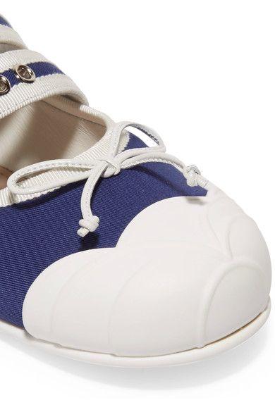 Miu Miu - Buckle-embellished Canvas Ballet Flats - Navy - IT