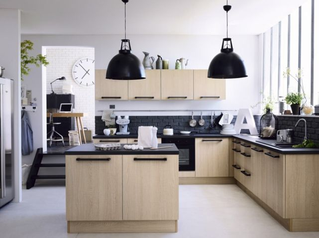 17 meilleures id es propos de cuisine noire et bois sur for Idee ilot pour petite cuisine
