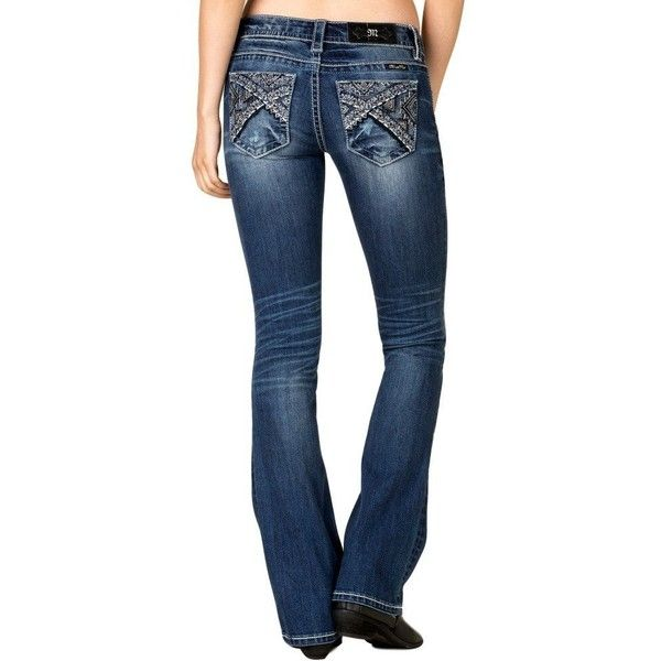 Miss Me Women's Medium Wash Embellished Bootcut Jeans Jp7779b ($100) ❤ liked on Polyvore featuring jeans, miss me bootcut jeans, miss me, miss me jeans, blue jeans and boot cut jeans