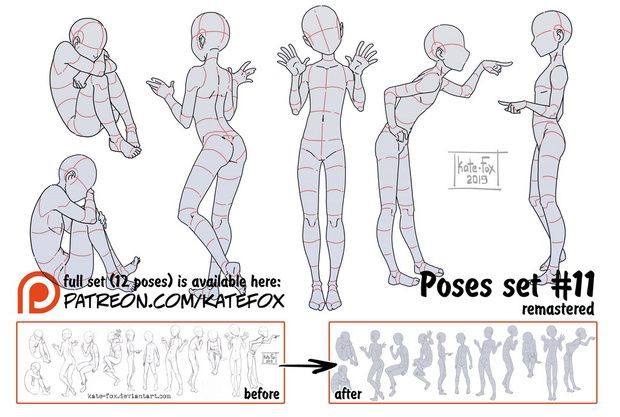 Kate Fox Is Creating Comics 2d Art Pose Study Sets And Fox Illustration Patreon Anime Poses Reference Anime Poses Art Poses