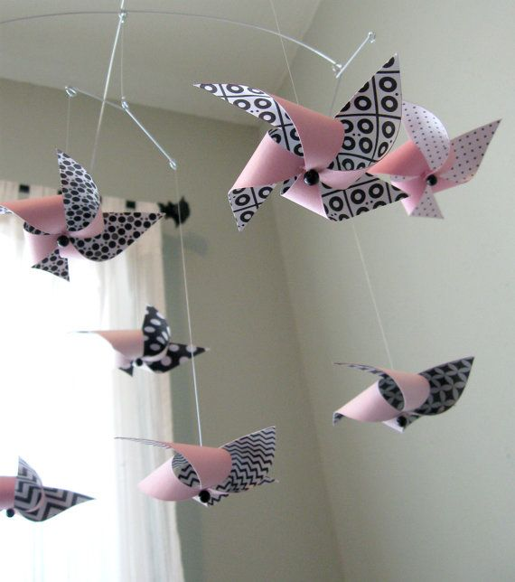 DIY mobile, I want to make this with blue inside, and alternating orange and lime green outside colours