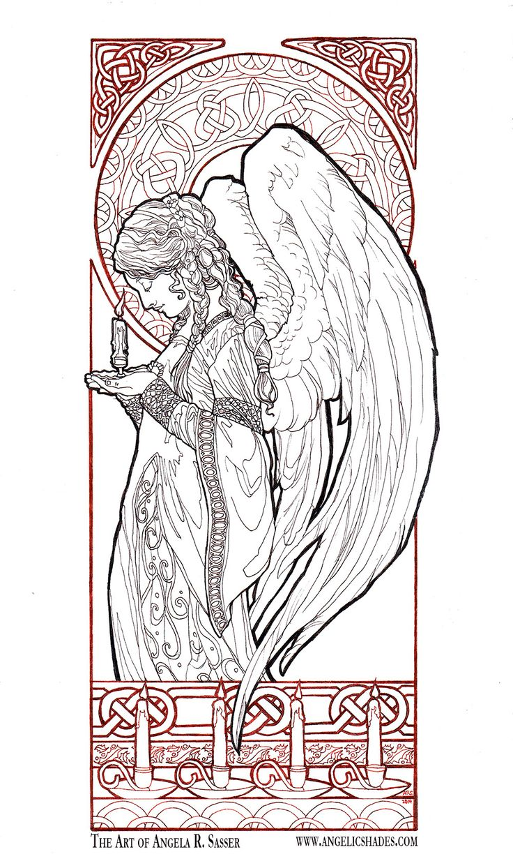 Christmas Angel Line Art by AngelaSasser – Natalia Hochweis
