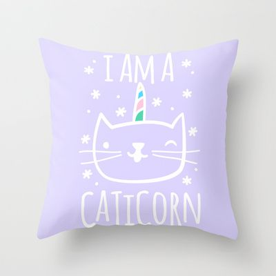 Caticorn Throw Pillow by LookHUMAN