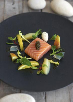 Confit Salmon with Lemon Verbena + Apple Purée + Marinaated Apples + Verbena Jelly + Micro Sorrel + Osetra caviar (sub stevia for sugar)