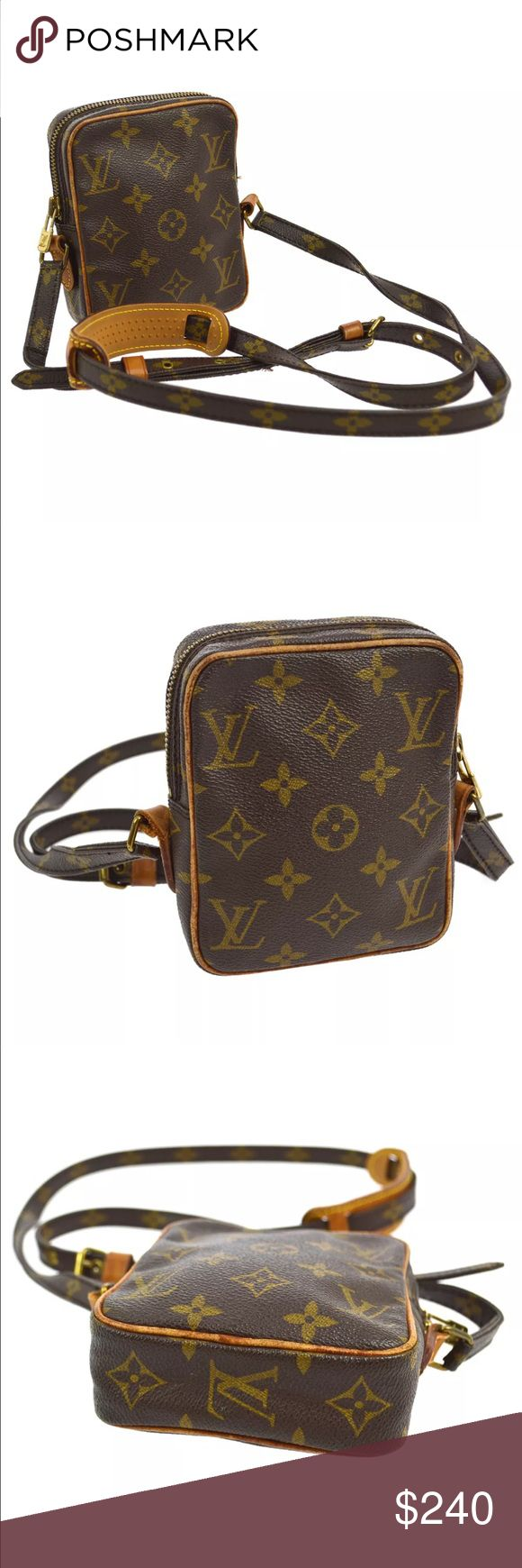 "Authentic Louis Vuitton Danube Mini Crossbody Brown and tan monogram coated canvas Louis Vuitton Mini Danube bag with brass hardware, tan vachetta leather trim, flat adjustable shoulder strap, brown leather lining and zip closure at top. One loose stitch on the shoulder, leather aging. 4.5"" by 5.5"". Louis Vuitton Bags Crossbody Bags"