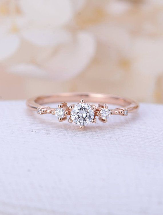 Unique engagement ring rose gold Moissanite engagement ring Vintage diamond cluster ring wedding women Promise Anniversary gift for her