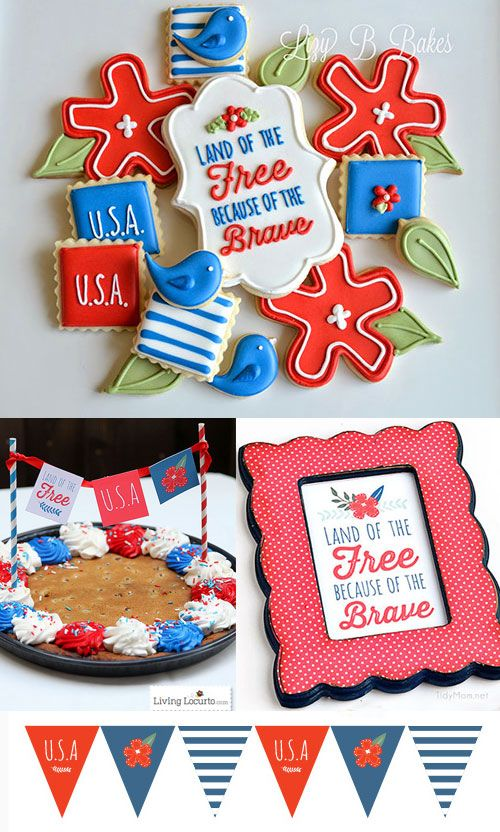 4th of July Patriotic Party Ideas with pretty printables by LivingLocurto.com.