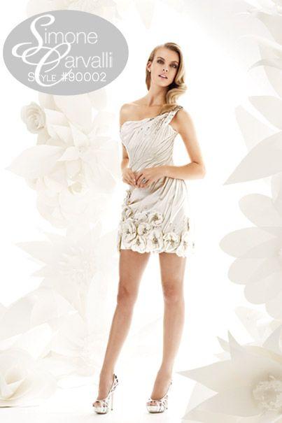 Simone Carvalli spring 2011 collection wedding gown, style #90002 #littlewhitedress #receptiondress #oneshoulder