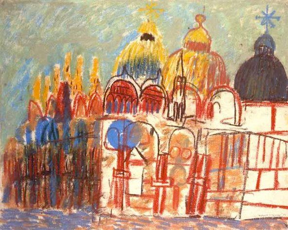 """Louis Kahn's 1951 pastel sketch of the Basilica of San Marco in Venice is one of the highlights of the """"Kahn in Venice"""" exhibition."""