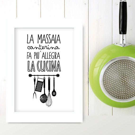 La massaia canterina - tipografia - locandina italiana - italian kitchen, Italia stampa - stampa italiana - cottura virgolette tipografica, cucina