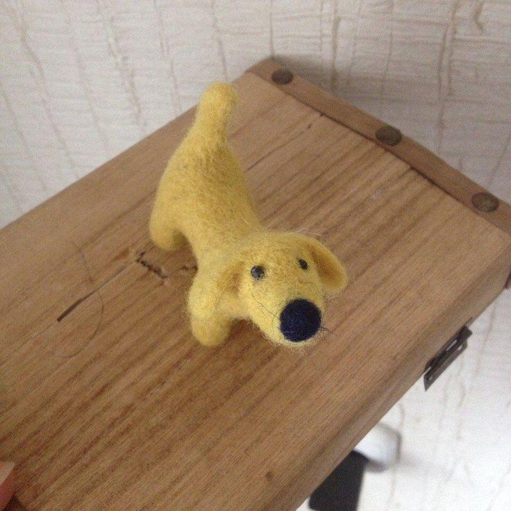 Handmade needle felted wool dog artwork toy ooak miniature little yellow dog toy #Unbranded