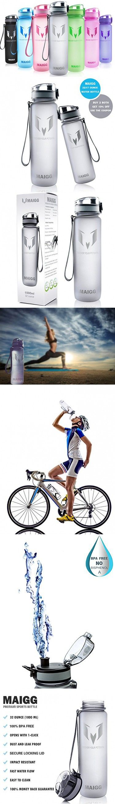 MAIGG Best Sports Water Bottle - 32oz- Eco Friendly & BPA-Free Plastic - For Running, Gym, Yoga, Outdoors and Camping - Fast Water Flow, Flip Top, Opens With 1-Click - Reusable with Leak-proof Lid