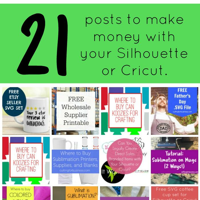 Learn to make money with your Silhouette Cameo or Cricut at Cutting for Business with these 21 small business articles.