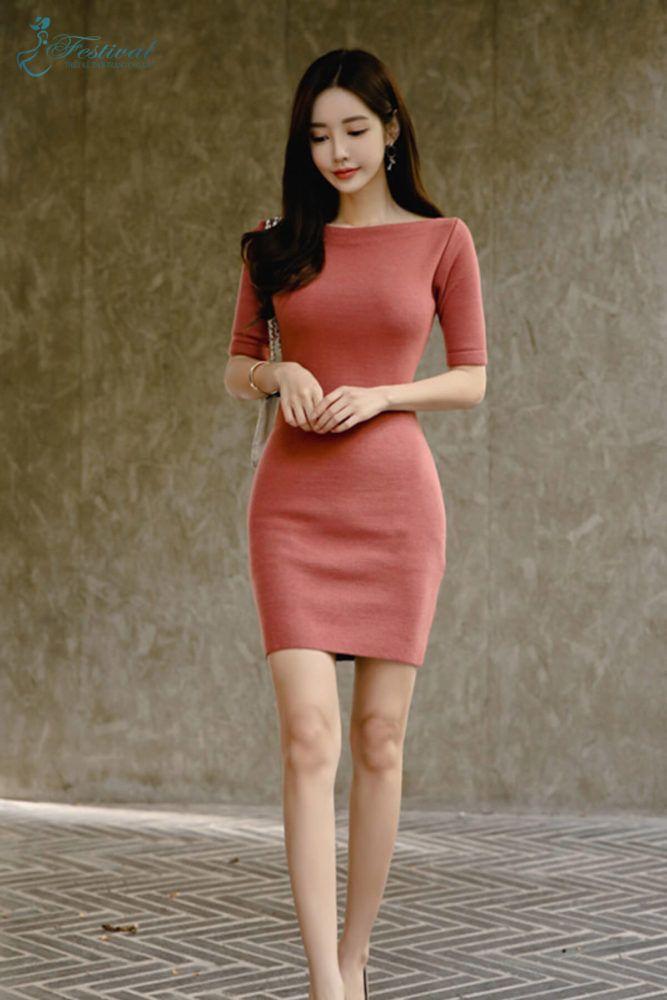 Vestido de Abraçar o Corpo Curto – F1017DOB   – Asian