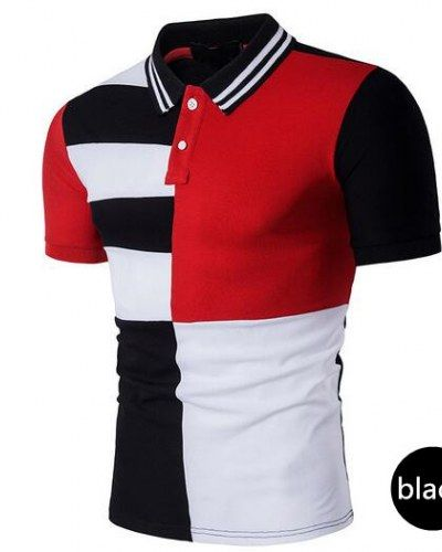 Color block polo shirt for men short sleeve tee