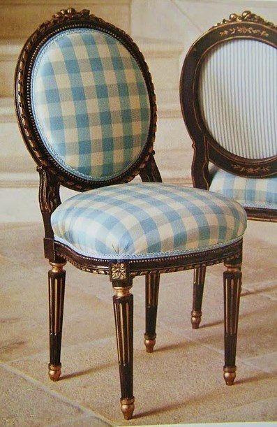 buffalo checks and ticking. French country decor check gold gilt chair