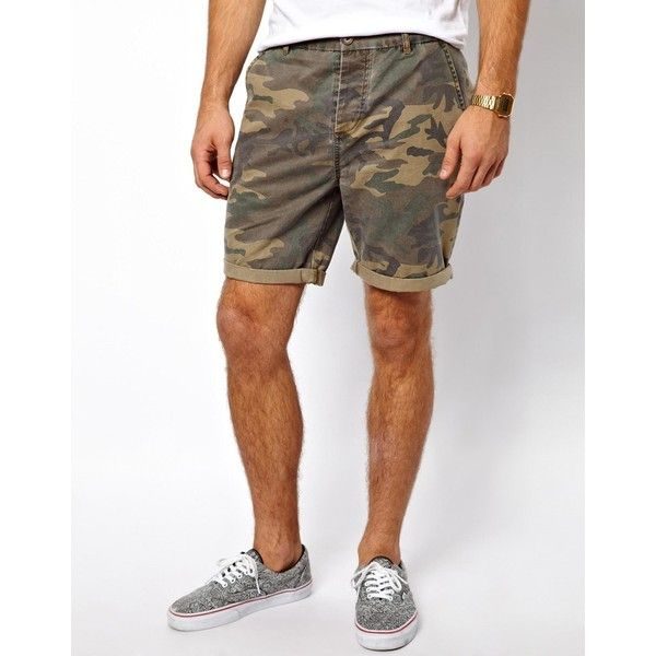 ASOS Chino Shorts With Camo Print ($34) ❤ liked on Polyvore featuring men's fashion, men's clothing, men's shorts, khaki, mens chino shorts, asos mens clothing, tall mens clothing, mens tall shorts and mens camouflage shorts