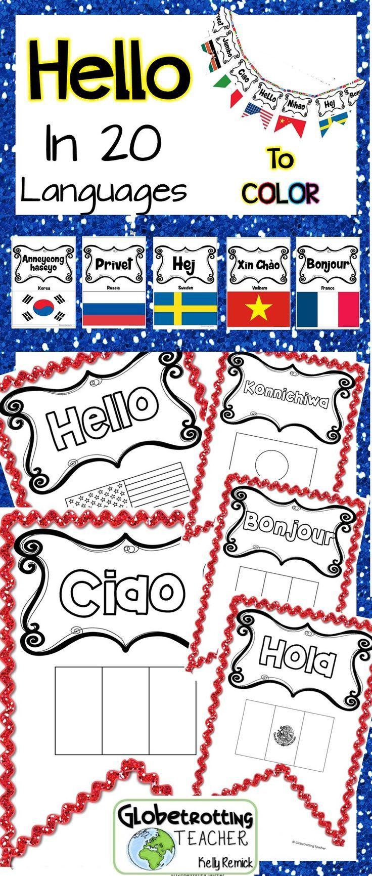 This gorgeous international bulletin board can be on your wall (or door or ceiling) in no time. Students use the key to discover the country name and then they color the flag.  Welcome your international students and parents! All the thinking, planning, coordinating and measuring has been done for you. Just print, cut and pin up. Presto! An amazing, colorful pennant that looks like you spent many hours creating!