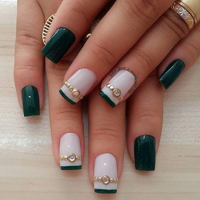 WEBSTA @ amanicuretop - Cor : verde , toque #unhas #unhasdasemana #unhastop #esmaltes #esmaltada #manicure
