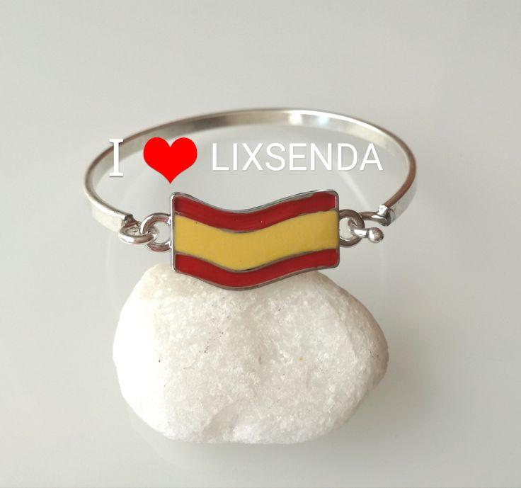 Pulseras de mujer, pulseras de plata, pulseras semi rigidas, Pulseras bandera españa, pulseras españa, aniversario, regalos, parejas, envio gratis. https://www.etsy.com/shop/Lixsenda