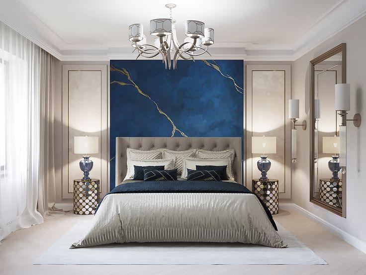 Спальня, синяя штукатурка под камень