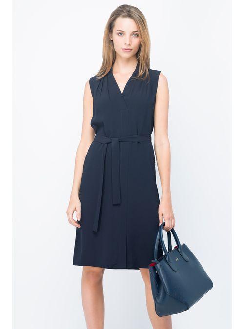 Compra Vestido Azul Marino Con Amarre - Julio Tienda Online