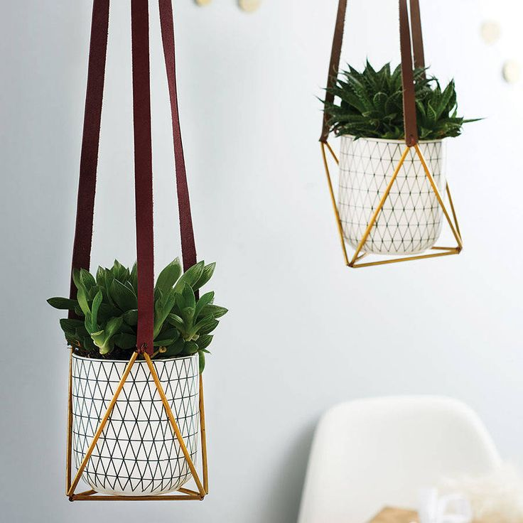 Hanging Leather and Brass Plant Hanger - Perfect to save space in your urban space and introduce some greenery to your life.