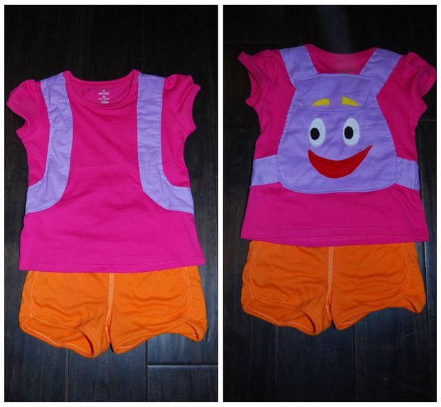 Inspiration for e's costume... A cute version but I'm still trying to change her mind. Dora is just a bit much for this mama. I was hoping for a mermaid or an enchanted fairy or an angel... E just wants Dora.