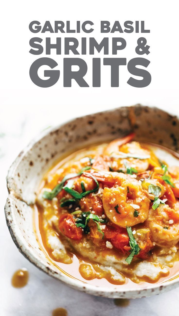 Shrimp + Grits made summertime-perfect with fresh tomatoes, fresh basil, and plenty of garlic and olive oil. Dairy free and gluten free!