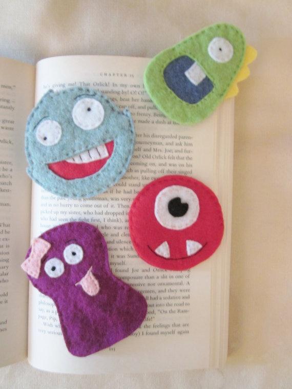 monster felt bookmarks