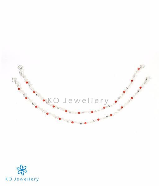 The Alaktha Silver Anklets #silver #anklets #online #shopping #red