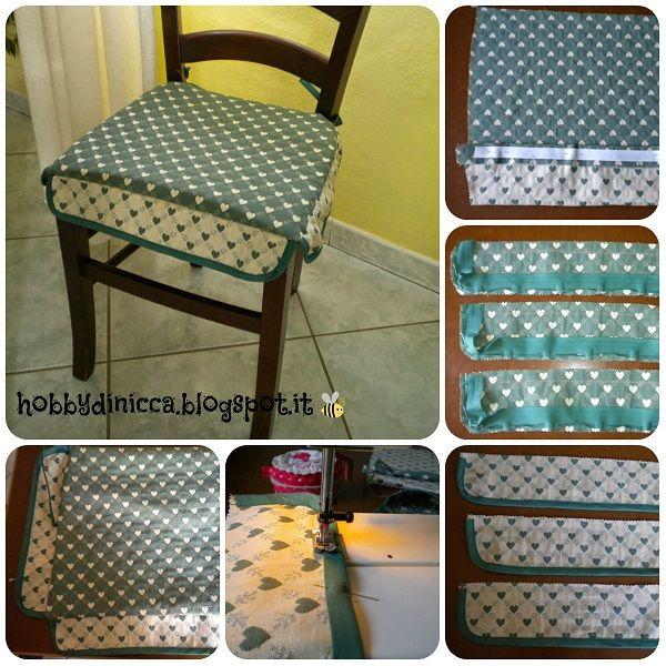 Spiegazioni in italiano per cucire i cuscini per le sedie della cucina.