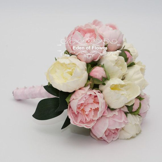 Roze pioen Bridal Bouquet Silk kunstmatige Peony door EdenOfFlower