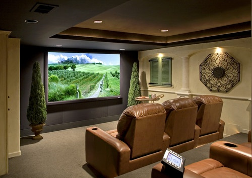 Tuscan Theater mediterranean media room