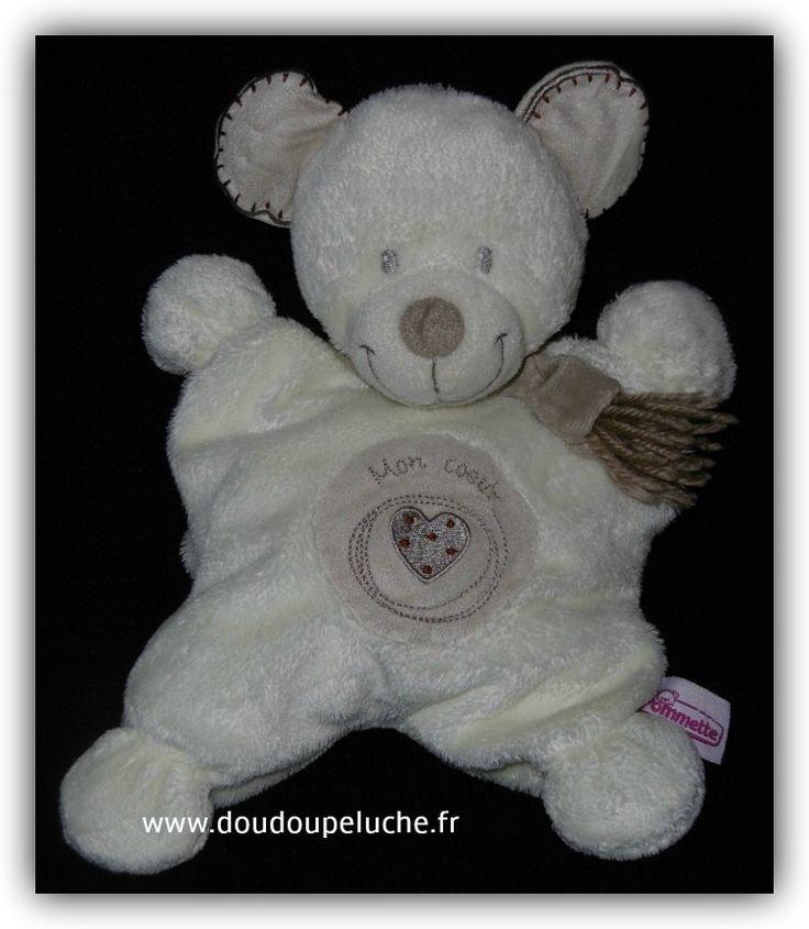 """Doudou ours Pommette """"mon coeur"""", avec écharpe, semi plat - sos doudou perdu"""