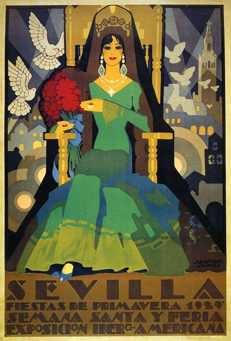 Sevilla Seville 1929 Spring Lady Spain Tourism Vintage Poster Repo