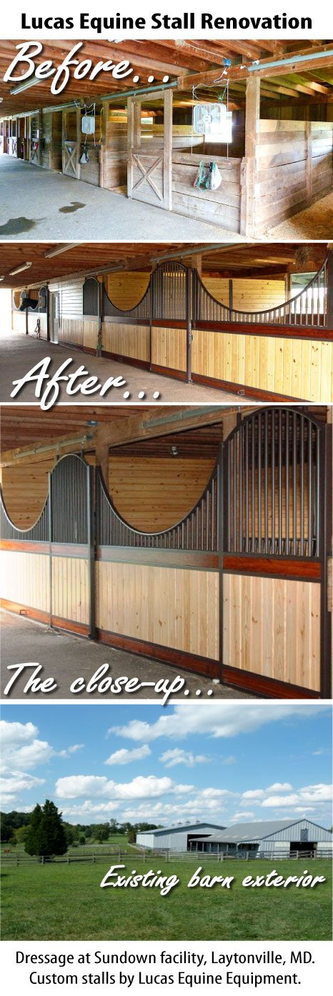 Lucas Equine Horse Stall Remodel. Amazing horse stable renovation with a modern style in an existing horse barn.