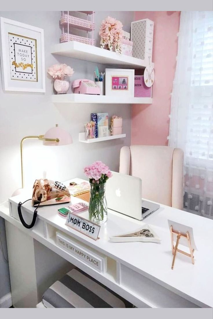 Pretty Home Office Ideas For Women Beautiful Glam Chic Home Office Inspiration Just For Her Pink Home Offices Feminine Home Offices Cozy Home Office