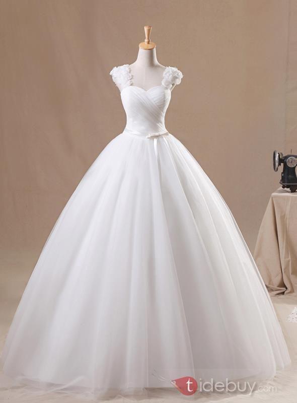 スイートキャップスリーブスイートハートホワイトチュールウエディングドレス