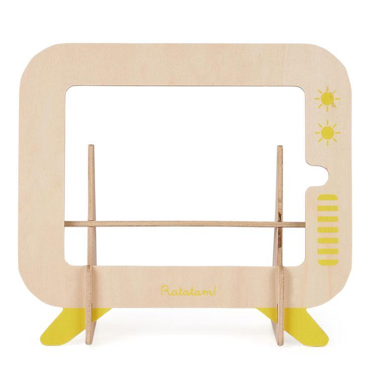 Porte Tablette Jaune en bois de peuplier - 27 x 25 cm